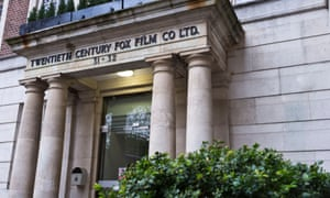 Twentieth Century Fox Film building with letters.