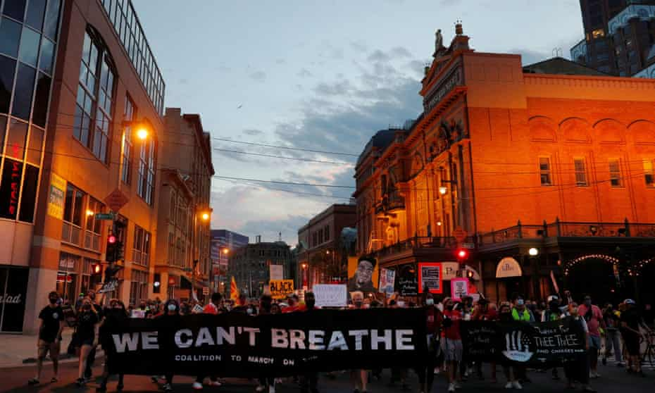 Demonstrators march against racial injustice in Milwaukee, August 20.