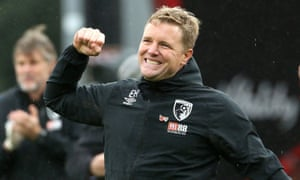 Bournemouth manager Eddie Howe celebrates after the final whistle.