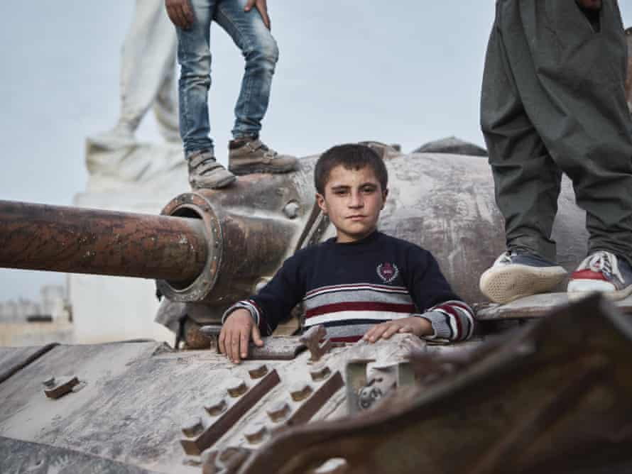 Idris, a student of the new self-administrated school system, is learning in his native language – Kurdish – for the first time in Kobane.