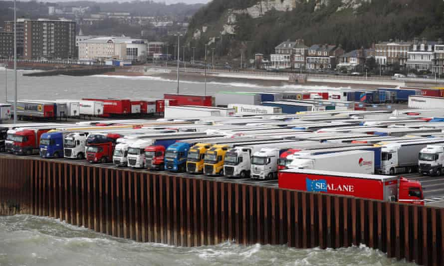 Lorries parked at the port of Dover.