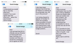 David Hodge's leaked texts.