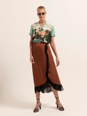 Model wears shirt, £89, warehouse.co.uk. Skirt, £89, zara.com. Sunglasses, £230, en.projektprodukt.co.kr. Sandals, £49.99, mango.com.