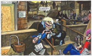 Martin Rowson cartoon 4/7/20: Johnson and other ministers loll about in grim London streets
