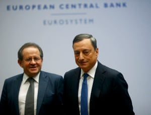 European Central Bank president Draghi and vice president Constancio leave after news conference at ECB headquarters in Frankfurt<br>European Central Bank (ECB) president Mario Draghi (R) and vice president Vitor Constancio leave after a news conference at the ECB headquarters in Frankfurt, Germany, December 3, 2015. REUTERS/Ralph Orlowski
