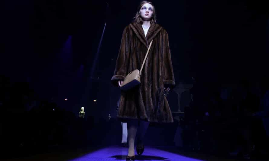A model wears a fur coat at the latest Gucci show during Milan fashion week spring/summer 2018.