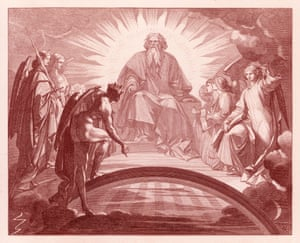 Mephisto in front of God and the three archangels, drawn by August von Kreling in Goethe's Faust.