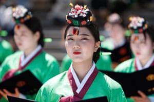 Twenty-year-olds participate in a coming-of-age ceremony in Seoul, South Korea