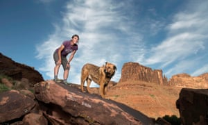 Danelle Ballengee and her dog, Taz, in Moab, Utah