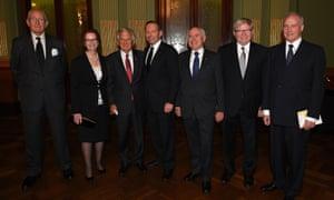 Former prime ministers Malcolm Fraser, Julia Gillard, Bob Hawke, prime minister Tony Abbott, John Howard, Kevin Rudd and Paul Keating at the funeral service for Gough Whitlam in November.
