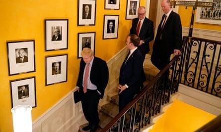 Left to right: Boris Johnson; the health secretary, Matt Hancock; England's chief scientific adviser, Patrick Vallance, and chief medical officer, Professor Chris Whitty at No 10