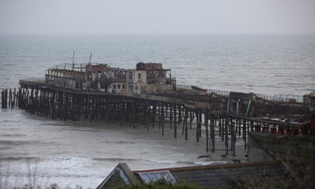 Hastings pier after the 2010 fire.