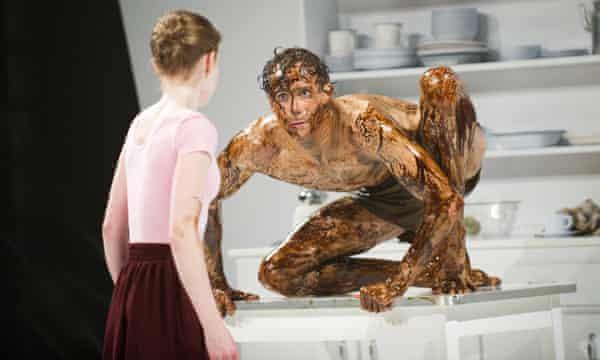 Edward Watson as Gregor Samsa and Laura Day as Grete Samsa in a 2011 Royal Opera House production of Metamorphosis.