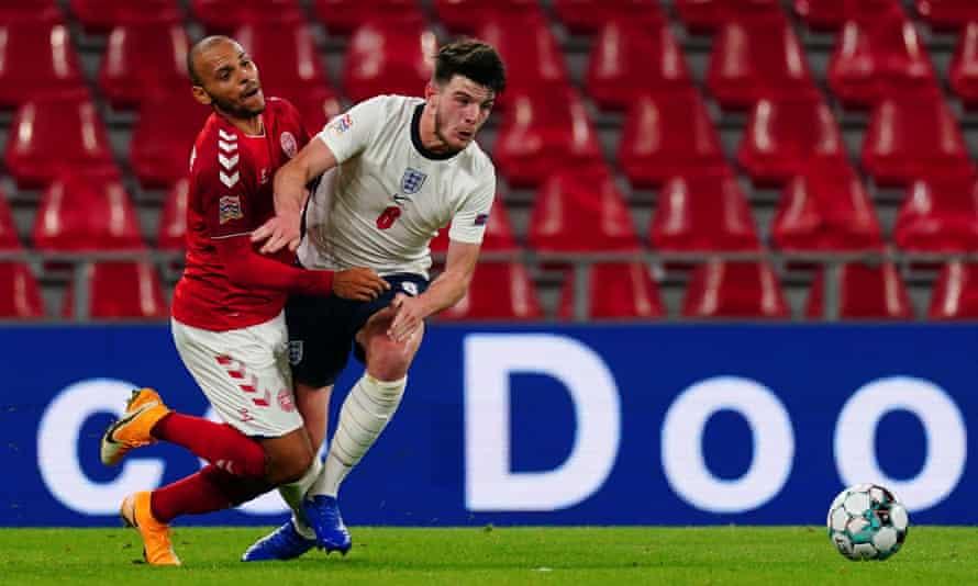 Declan Rice fouls Martin Braithwaite of Denmark during Tuesday's goalless draw in Copenhagen.