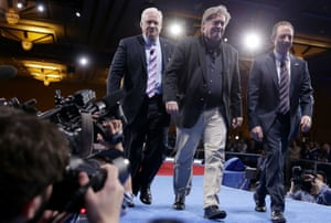 Reince Priebus, Steve Bannon and Matt Schlapp at the Conservative Political Action Conference in Maryland in 2017