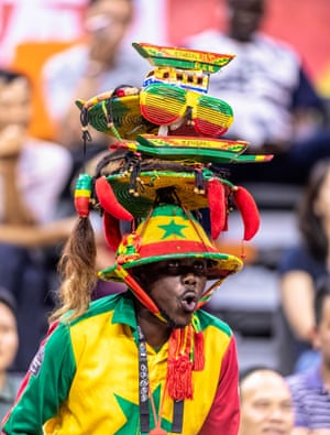 Dongguan, China: A Senegal supporter cheers during the FIBA Basketball World Cup match between Canada and Senegal