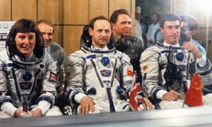 Cosmonauts including Helen Sharman prior to launch on the Soyuz TM-12 mission in 1991.