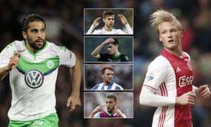 Wolfsburg's Ricardo Rodriguez (left), Julian Weigl, Mahmoud Dahoud, Brighton's Dale Stephens, Rudy Gestede and Ajax striker Kasper Dolberg (right).