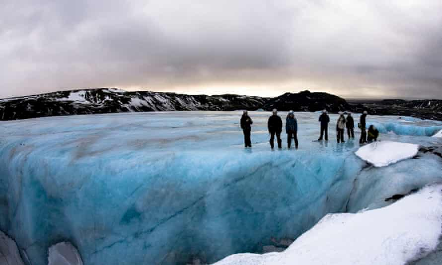 Glacier hiking near Reykjavik, Iceland.