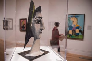'Picasso's paintings talk back and forth across the gallery, calling each other into being': Jacqueline With a Yellow Ribbon, 1962 (foreground) opposite Maya in a Sailor Suit, 1938 (right) at the National Portrait Gallery.