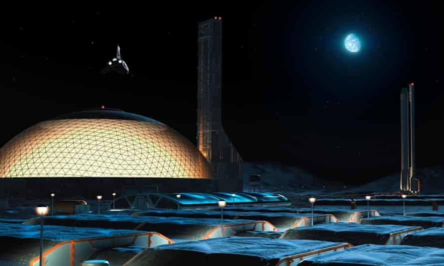 An artist's impression of future lunar base or 'moon village'