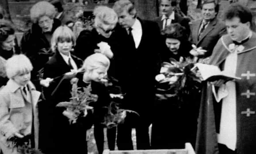 Donald and Ivana Trump during the funeral of her father, Miloš Zelníček, in 1990 in Zlín.
