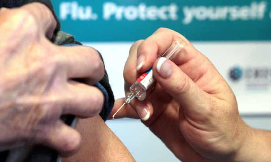 Patient is given winter flu vaccine