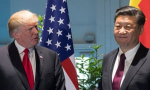 Donald Trump and Xi Jinping together on the sidelines of the G20 summit in Hamburg.