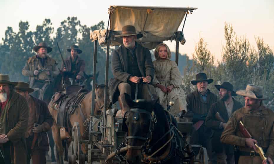 Helena Zengel as Johanna and Tom Hanks as Capt Kidd in News of the World.