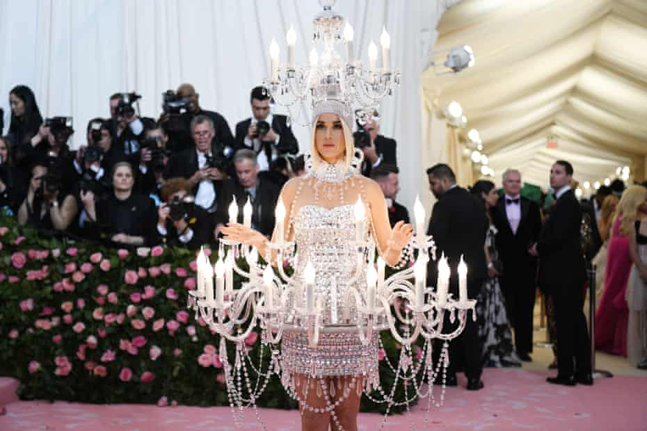 Chandelier chic: Katy Perry lights up the 2019 Met Gala.