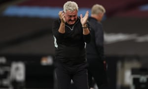 Newcastle manager Steve Bruce celebrates their second goal.