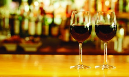 Close-up of Two Glasses of Red Wine on Bar Counter --- Image by © 68/George Doyle/Ocean/Corbis