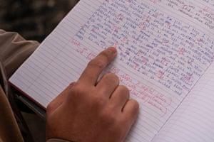 Sherif Targi with his class notes