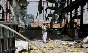A factory hit by Saudi-led airstrikes in Sana'a, Yemen.