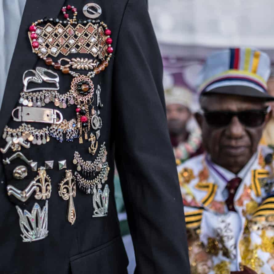 Performers dressed as military officers – a popular feature of some Comorian events – attend the Madjiliss ceremony on the first Saturday of the wedding celebrations