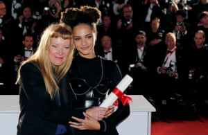 Andrea Arnold poses with actor Sasha Lane