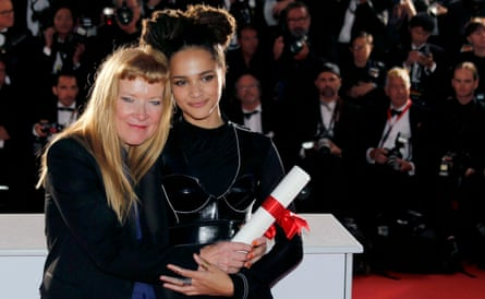 Andrea Arnold with Sasha Lane after winning the jury prize at Cannes film festival, May 2016