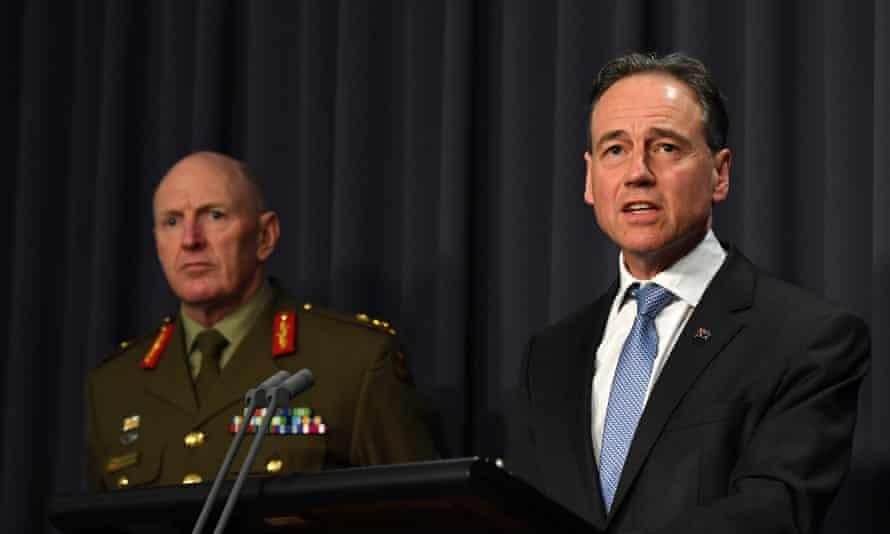 COVID-19 Taskforce Commander, Lieutenant General John Frewen and Minister for Health Greg Hunt