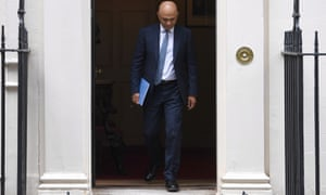 Chancellor Sajid Javid leaves 11 Downing Street before delivering his spending review to parliament.