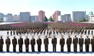 Military personnel take part in an anti-US rally in Pyongyang, North Korea.