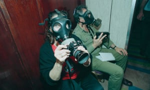 Photographer Sally Soames in Israel in 1991 following a scud missile attack by Iraq.