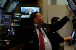 Traders on the floor of the New York Stock Exchange today.