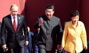 Russian president Vladimir Putin, Chinese president Xi Jinping and South Korea president Park Geun-hye.