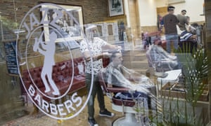A barbers shop in London.