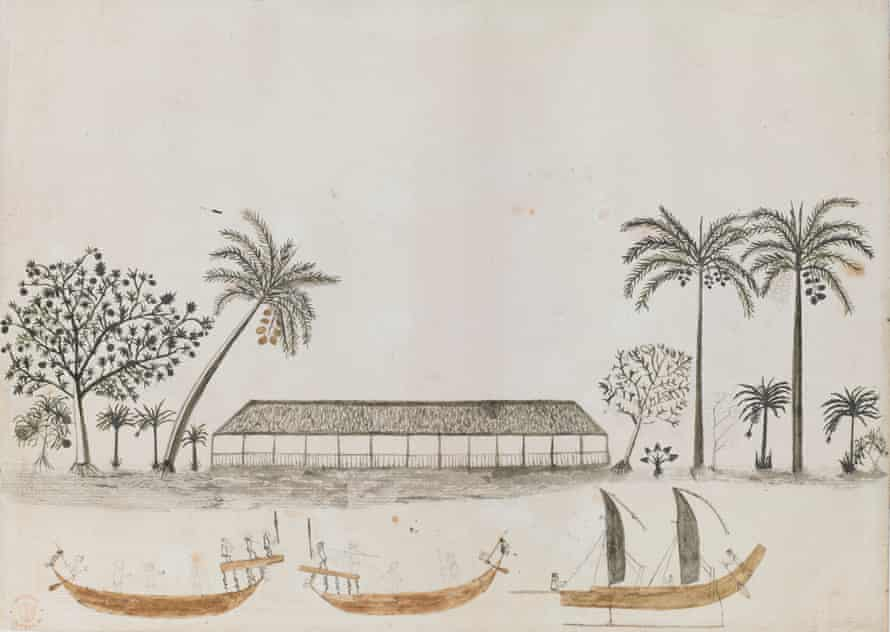 Captain James Cook: The Voyages. British Library, London. Tahitian Scene by Tupaia (c) British Library Board