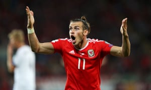 Wales' Gareth Bale appeals to the officials.