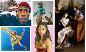 Clockwise from top left: Candyman; Ray Harryhausen's Medusa model from Clash of the Titans; Artemisia Gentileschi's David and Bathsheba; Wonder Woman 1984; Lazuli Sky.