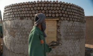 Tateh Lehbib Braica – aka 'the crazy bottle guy' – has built circular houses that protect from wind and sun from waste plastic bottles.
