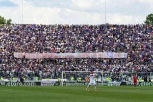 Fiorentina supporters display a banner in memory of Davide Astori.