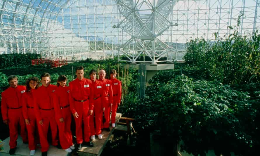 The 'Biospherians' pose in the Biosphere 2 project in 1990.